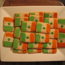 Irish Flag Cookies Recipe - Crisp sugar cookies frosted to look like the flag of the Irish Republic.