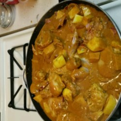 Adriel's Chinese Curry Chicken Recipe - A favorite chicken dish from the Chinese restaurant comes home in this quick but tasty version. Curry paste, coconut milk, ginger, and garlic flavor the sliced chicken breast meat and potatoes and give the dish its lovely yellow color. Serve over hot cooked jasmine rice.