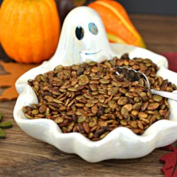 Seasoned Pumpkin Seeds Recipe - Green seeded pumpkin kernels (Mexican pepitas) are roasted with an easy, savory seasoning mixture until toasted and crisp. They're not the usual roasted and salted pumpkin seeds.