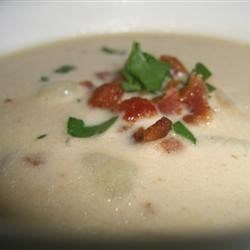 New England Clam Chowder II Recipe - Bottled clam juice is the secret ingredient for this extra-flavorful chowder.  Otherwise, this is a fairly standard chowder recipe with lots of potatoes, bacon, and onions.