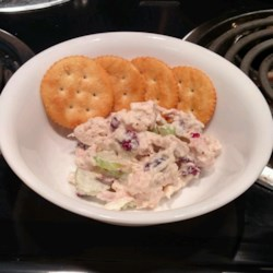 Cherry Chicken Salad Recipe - Buttermilk and mayonnaise flavor this terrific salad that whips together chunks of chicken, dried tart cherries, pecans and celery.