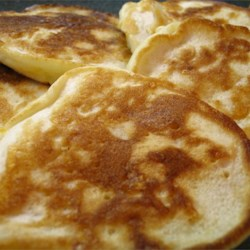 Golden Penny Pancakes Recipe - Small pancakes with cheddar cheese. Good with maple syrup or fruit, or on their own.