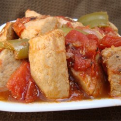 Tomatoed Pork Recipe - This is a spicy pork dish with much flavor that goes really well with Mexican fideo (vermicelli pasta) or white rice.