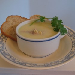 Avgolemono Recipe - This thick and creamy egg and lemon soup is made with orzo pasta in chicken broth.