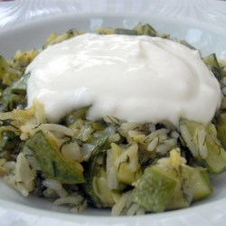 Zucchini with Dill Weed and Garlic-Yogurt Sauce