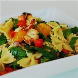 Mandarin Chicken Pasta Salad Recipe and Video - An easy pasta chicken salad showcases Asian flavors with mandarin oranges, fresh ginger, rice vinegar, and sesame oil.
