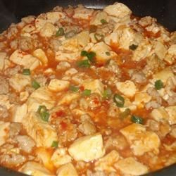 Ma Po Tofu Recipe - This is a great Chinese dish of ground pork, tofu, and green peas cooked in a spicy sauce.