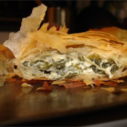 Spanakopita II Recipe - The recipe for these spinach and feta appetizer triangles came from a Greek family friend. They may be frozen prior to baking.