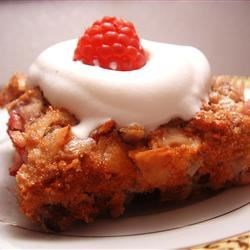 Bread Pudding III Recipe - This is a traditional bread pudding in which blended egg and milk are poured over cubes of stale bread and raisins and then baked in a moderate oven.