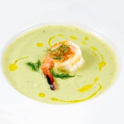 Avocado Shrimp Bisque Recipe - Chopped shrimp and avocado are cooked in chicken broth with milk, onion and lemon juice in this soup that can be served warm or cold.
