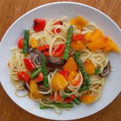 Roasted Portobello Mushroom Fettuccine Recipe - Fettuccine pasta is tossed with fresh asparagus, roasted red and yellow peppers, and portobello mushrooms for a pasta dish with bright colors and flavors.