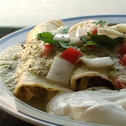 Authentic Enchiladas Verdes Recipe - These enchiladas are made with a fresh green salsa, just like you would find in a Mexican restaurant or better yet, in a Mexican home.