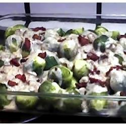 Nana White's Famous Brussels Sprouts Recipe - In this hearty recipe Brussels sprouts are baked with bacon, onions, milk, white wine  and savory herbs.  You can make this dish ahead of time and refrigerate it before baking.