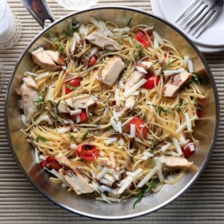 Greg's Easy Spaghetti with Balsamic Chicken Recipe - This quick one pot meal features spaghetti with chopped chicken, cherry tomatoes, balsamic vinegar, and shredded Asiago cheese.