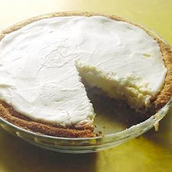 Cream Cheese Pie Recipe -  This is a classic baked cream cheese pie made with a sweetened sour cream topping and a hint of vanilla. And of course, it 's served in a graham cracker crust.