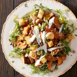 Sweet Potato Salad with Garlic Bread and Frisee Recipe - Take your salad skills to the next level with this hearty dish from Aran Goyoaga of Canelle et Vanille.
