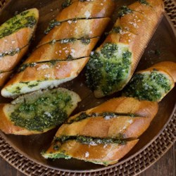 Parmesan Garlic Bread from Reynolds Wrap(R) Recipe - Find the perfect complement for any meal with this tasty side dish from April Bloomfield of A Girl and Her Pig.
