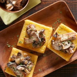 Fried Polenta Squares with Creamy Mushroom Ragu Recipe - You won't be able to resist this hearty, heart-warming side dish from Beth Kirby of Local Milk.