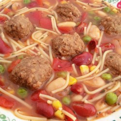 Quick 'n Easy Meatball Soup Recipe - Use prepared meatballs and canned broth, beans, and vegetables to make a quick, easy, and hearty Italian-style soup.