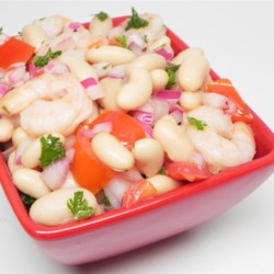 Cannellini Shrimp Salad Recipe - A delicious chilled salad of white kidney (cannellini) beans and shrimp with a zesty herbed dressing. This may be eaten immediately, but is best when left refrigerated several hours, or overnight.