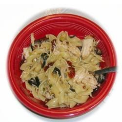 Olive Blasta Pasta Recipe - Fettuccini tossed with sauteed chicken, green onion, black olives, and sun-dried tomatoes flavored with garlic, basil and parsley.