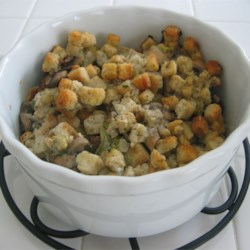 Slow Cooker Stuffing Recipe - Making this moist bread dressing  in a slow cooker is an excellent way to free up the oven for other dishes on a busy cooking day.