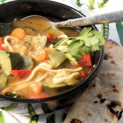 Herbal Kluski Zucchini Soup Recipe - Beef and zucchini soup with kluski noodles and nicely seasoned broth is a hearty lunch or dinner for cold winter evenings.