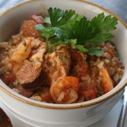 Colleen's Slow Cooker Jambalaya Recipe - Shrimp and chicken simmer with classic jambalaya ingredients in this easy slow cooker meal.