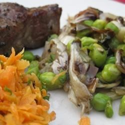 Lamb chops, warm chickpea and radicchio salad, and carrot salad