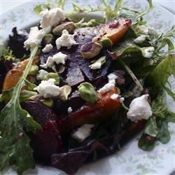 Roasted Beet, Peach and Goat Cheese Salad Recipe - This salad is a bit of work, but it's so delicious and always impresses guests. Mache can be hard to find, so you may omit it and just use arugula, but it adds a great nutty flavor if you can find it.