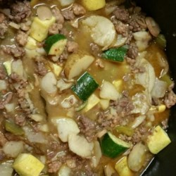 Zucchini Stew by Bob Recipe - Zucchini, obviously, but also ground beef, potatoes, and Anaheim chilies give this stew recipe plenty of heartiness and flavor.