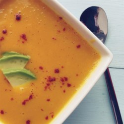 Butternut Squash Soup with a Paleo Kick Recipe - This butternut squash soup gets its creaminess from almond milk and avocado.