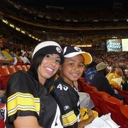 My handsome son and I at a Steelers/Redskins game :-)