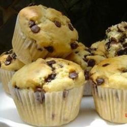 Chocolate Chip Muffins I Recipe - These sweet muffins come together in a jiffy, with a liberal helping of chocolate chips.