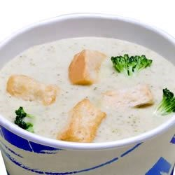 Cream of Broccoli Cheese Soup I Recipe - This is a chicken stock and milk based soup with wide egg noodles, processed American cheese, and broccoli florets.