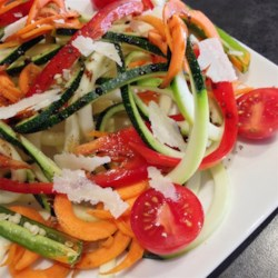 Spiral Zucchini Salad Recipe - A fresh zucchini, carrot, and tomato salad is fun to make with a spiral slicer and pretty on the plate.