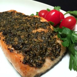 Grilled Salmon With Pesto Crust Recipe - Quick and easy grilled salmon is topped with homemade basil pesto and broiled creating a tasty pesto-crusted fillet.
