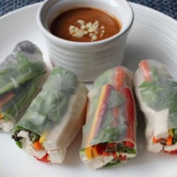 Chef John's Fresh Spring Rolls Recipe - Chef John uses rice paper wrappers and ingredients he has on hand--cooked chicken, bell peppers, English cucumbers, carrots, and fresh herbs--to make his versatile Fresh Spring Rolls.