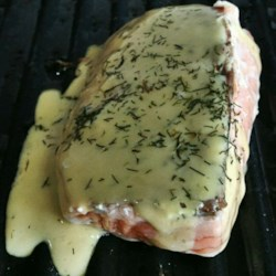 Grilled Salmon with Dill Sauce Recipe - Grilled salmon stays moist with a simple mayonnaise and dill sauce.