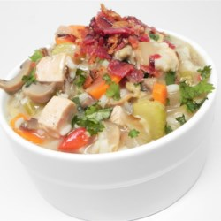 Easy Wild Rice Soup Recipe - Use canned cream of mushroom soup as your base to make a chicken and wild rice soup with the added bonus of bacon!