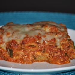 Baked Ziti Primavera Recipe - This baked ziti dish is vegetarian and an ideal way to serve a large group.