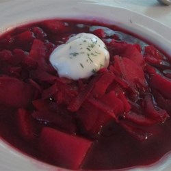 Omi's Borscht Recipe - Borscht, a traditional Ukrainian beet soup, with fresh garden vegetables is a warm and comforting soup for a cold night.