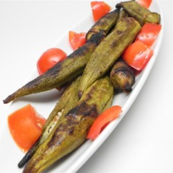 Summer's Best Grilled Okra Recipe - Try grilling fresh okra seasoned with garlic powder for a quick, easy, and delightful summer appetizer.