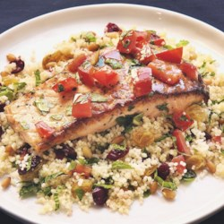 Lemon-Pepper Salmon Recipe - Simple, tasty and fast! Salmon is sauteed with all ingredients at once, and served over couscous.  Great with a spinach salad.