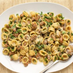 One Pan Orecchiette Pasta Recipe and Video - Orecchiette pasta is simmered with Italian sausage and arugula to prepare this quick-and-easy, one-pot meal.