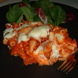 Cavatini II Recipe - Three types of pasta and in a cheesy sauce with peppers and mushrooms.