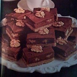Tri-Level Brownies Recipe - A delightfully rich chocolate brownie with a tasty cookie crust. A great dessert with coffee.