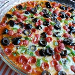 Hot Pizza Dip Recipe and Video - Think of this as chafing-dish pizza without the dough! Five minutes in the microwave and you've got an appetizer on the table.