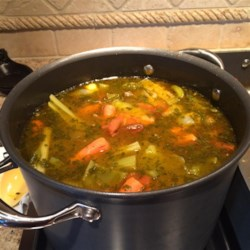 World's Greatest Vegetable Broth Recipe -  This is a terrific broth with caramelized roasted vegetables as a base. The veggies are then plopped into a pot with water and herbs and simmered until a rich, delicious broth emerges. Strain and you have two quarts broth. Freezes well.