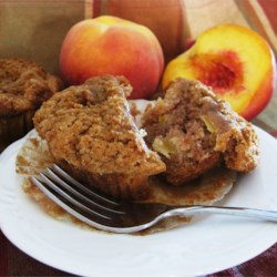 Peach Muffins Recipe - In my hurry to use up some peaches, I came up with this muffin recipe. It turned out so good, like peach cobbler in a muffin, that I thought I'd share it with everyone!